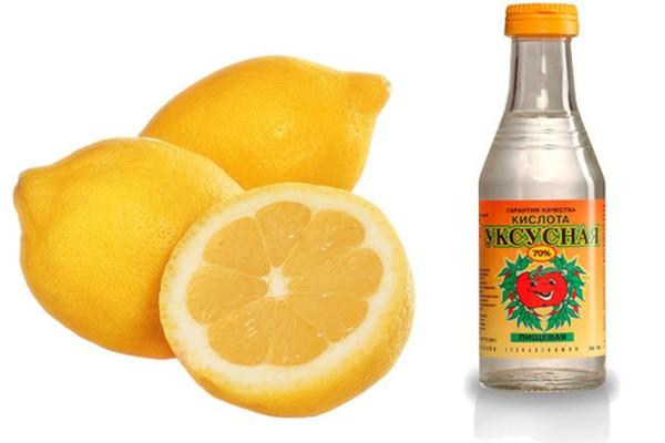 Уксусная кислота и лимон