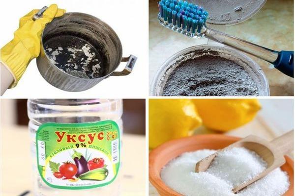 Применение уксуса для чистки посуды